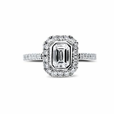 Emerald Cut Micro Set Cluster 0.38ct E VVS2 BGI